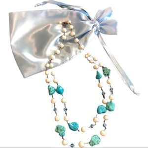 Faux pearl | turquoise | brass | necklace | New